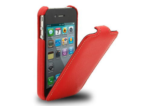 MELKCO iPhone 4 レザーJacka typeケース(Red LC)